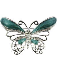 Indulgence Jewellery - Rhodium Crystal Green Butterfly Brooch - Lyst