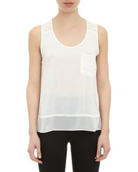 Barneys New York Sheer Chest Pocket Tank - Lyst