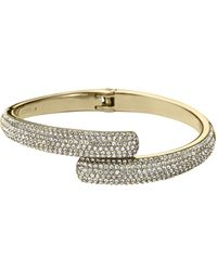 Michael Kors Pavé Embellished Gold Tone Hinge Bangle - Lyst