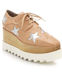 Stella McCartney Metallic Star Wooden-Wedged Oxfords - Lyst