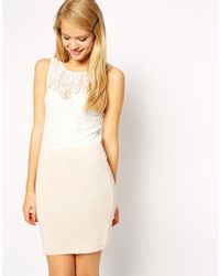 Asos Co-ord Dress with Knitted Skirt and Lace Top - Lyst