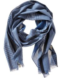 Banana Republic Houndstooth Scarf Navy - Lyst