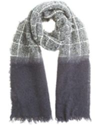 Zanone - Grey And Blue Wool Scarf - Lyst