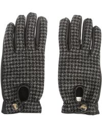 Lardini - Leather And Wool Gloves - Lyst