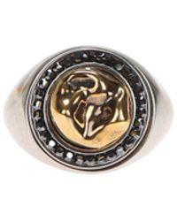Alexander McQueen - Brass Ring With Swarovski Crystals - Lyst