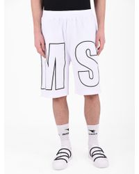 MSGM - Embroidered Cotton Shorts - Lyst
