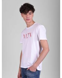 Valentino - Printed Cotton T-shirt - Lyst