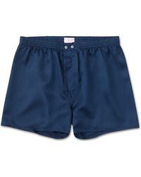 Derek Rose - Classic Fit Boxer Shorts Woburn Pure Silk Satin Stripe Navy - Lyst