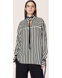 Derek Lam - Long Sleeve Mandarin Collar Shirt With Ties - Lyst