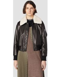 14409c0313d 10 Crosby Derek Lam - Cropped Leather Flight Jacket With Shearling Collar -  Lyst