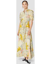 10 Crosby Derek Lam - Gathered Map Print Georgette Maxi Dress - Lyst