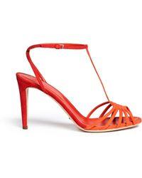 Sergio Rossi T-Strap Suede Sandals - Lyst