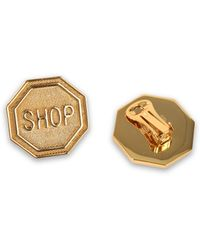 """Moschino - """"shop"""" Stop Sign Clip Earrings - Lyst"""