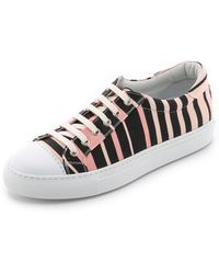 Temperley London Shore Canvas Lace Up Sneakers - Blush/Black - Lyst