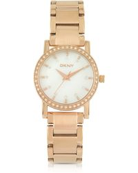 DKNY Lexington Rose Golden Stainless Steel with Crystals Womens Watch - Lyst