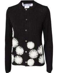 Comme des Garçons Floral Stitch Wool Cardigan Black - Lyst