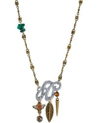 Tru. - Two-tone Beaded Pendant Necklace - Lyst
