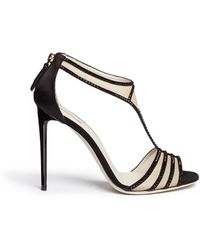 Giorgio Armani Acetate Heel Strass Trim Mesh Sandals multicolor - Lyst