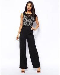 Lipsy Wide Leg Jumpsuit with Lace Top - Lyst