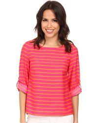 Calvin Klein 3Q Sleeve Stripe Pullover - Lyst