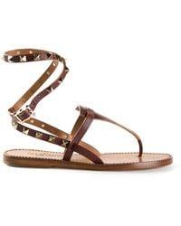 Valentino Brown Rockstud Sandals - Lyst