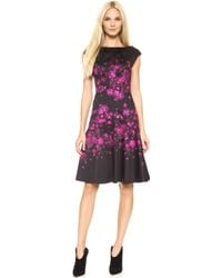 Lela Rose Cap Sleeve Drop Waist Dress Magentablack - Lyst