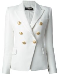 Balmain Structured Double Breasted Blazer - Lyst