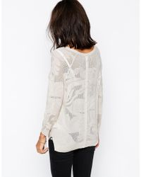 Warehouse - Double Button Back Pointelle Sweater - Lyst