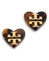 Tory Burch Tilsim Logo Heart Stud Earrings Ivory - Lyst
