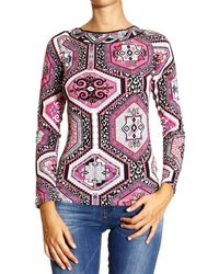 Emilio Pucci T-shirt Long Sleeve V Neck Print Suzani - Lyst