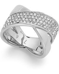 Michael Kors Quartz Pave Criss-Cross Band Ring silver - Lyst