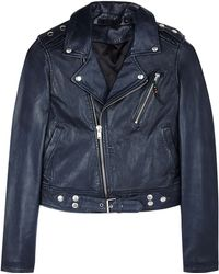 Blk Dnm Navy Leather Motorcycle Jacket - Lyst