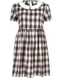 River Island Grey Check Contrast Collar Tea Dress - Lyst