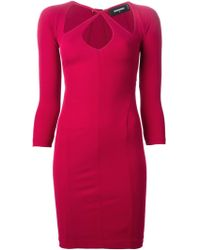 DSquared² Cut Out Detail Dress purple - Lyst