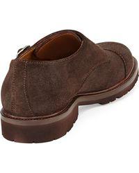 Brunello Cucinelli Monk-strap Suede Shoe with Rubber Sole - Lyst