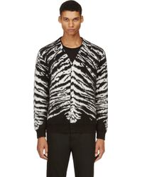 Saint Laurent Black and White Zebra Print Mohair Cardigan - Lyst