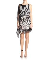 Halston Heritage Printed Cascading-Ruffle Dress - Lyst
