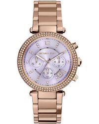 Michael Kors Parker Rose Golden Glitz Watch - Lyst