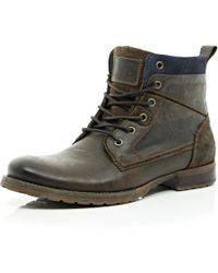 River Island Dark Brown Lace Up Military Boots - Lyst
