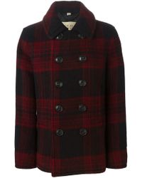 Burberry Brit - Double Breasted Check Coat - Lyst