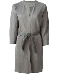 DROMe Belted Leather Coat - Lyst