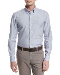 Ermenegildo Zegna   Shadow-check Long-sleeve Sport Shirt   Lyst