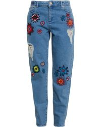 House of Holland Jeans With Floral Embroidery - Lyst