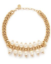 Ela Stone 'Celia' Box Chain Faux Pearl Necklace - Lyst