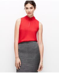 Ann Taylor Crepe Button Back Shell - Lyst