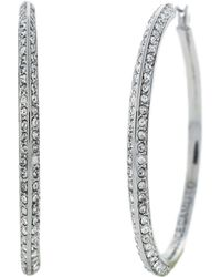 Vince Camuto - Silvertone Crystal Hoop Earrings - Lyst