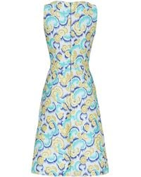 Osman Yousefzada Zip Detail Dress in Teal Japanese Jacquard - Lyst