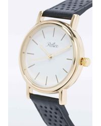 Reflex - Perforated Leather Watch In Black - Lyst