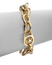 Michael Kors Logo Lock Chain Link Bracelet/Goldtone - Lyst