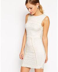 Asos Mix Lace Body-Conscious Mini Dress - Lyst